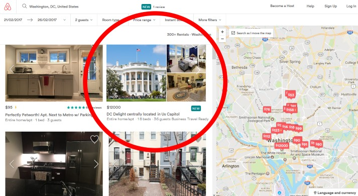 whitehouse-listed on airbnb-butisit